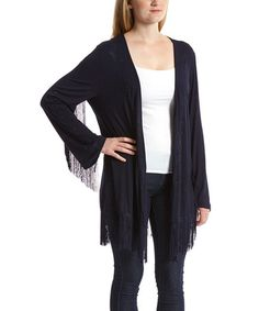 Loving this Navy Fringe-Accent Open Cardigan on #zulily! #zulilyfinds