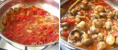 » Mancare de ciuperci in sos de rosiiCulorile din Farfurie Chana Masala, Chili, Salsa, Soup, Ethnic Recipes, Chile, Salsa Music, Soups, Chilis
