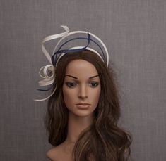 Halo headband. Modern geometric white fascinator. White Fascinator, Fascinator Hats, Headpiece, Wedding Fascinators, Wedding Hats, Halo Headband, Navy Color, Fabric Samples, Fine Hair