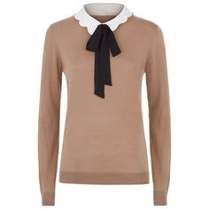 Claudie Pierlot  Massinissa Tie Neck Sweater ($260) ❤ liked on Polyvore featuring tops, sweaters, tie neck top, bow neck tie, collar top, bow top and bow sweater