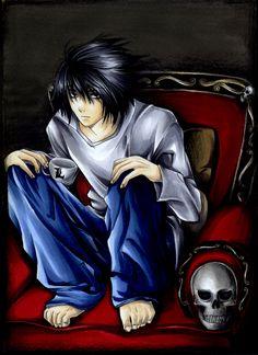 L. That mad genius. Tsugumi Ohba, Death Note L, L Lawliet, Manga Artist, Cartoon Characters, Manga Anime, Notes, Animation, Comics