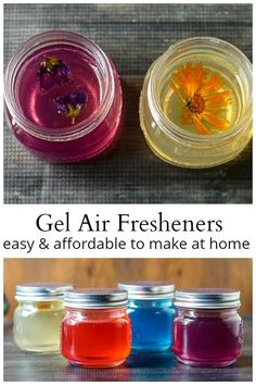 homemade air fresheners are super easy and cheap to make. A great safe substitute for burning scented candles. These homemade air fresheners are super easy and cheap to make. A great safe substitute for burning scented candles. Homemade Scented Candles, Diy Scented Gifts, Limpieza Natural, Homemade Air Freshener, Diy Air Fresheners, Natural Air Freshener, Car Air Freshener, Gel Candles, Crafts