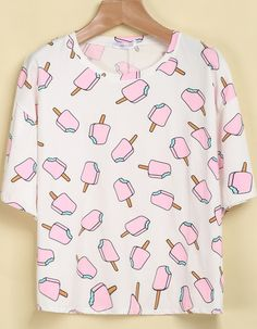 White Short Sleeve Popsicles Print T-Shirt pictures