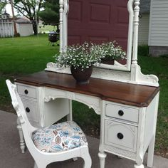 Antique Vanity Refinished in French Vanilla