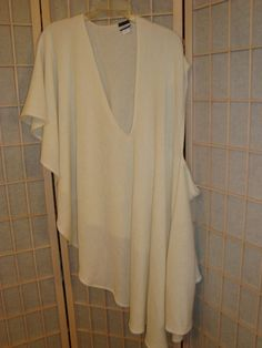 Croft & Barrow Size S M L XL 1X 2X 3X Ivory Rib Knit Poncho Cape One Arm Style #CroftBarrow #PonchoShawl