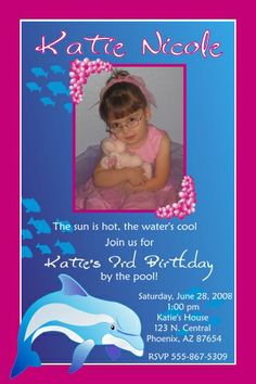 dolphin birthday Photo party invitations | Custom birthday girl party photo invitations, Monster High, Zebra, any ...