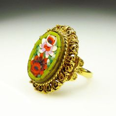 Vintage Ring Micromosaic Chunky Floral Retro by zephyrvintage, $22.00