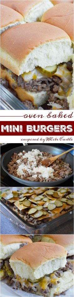 These Oven Baked Mini Burgers are inspired by my favorite fast food, White Castle and Krystal Burgers. This copycat recipe of my ultimate craving is perfect for feeding the family or a large crowd on game day! Don't forget the fries and sweet tea! Mini Hamburgers, Dinner Party Recipes, Delicious Dinner Recipes, Meat Appetizers, Appetizers For Party, Party Snacks, Burger Recipes, Copycat Recipes, Slider Recipes