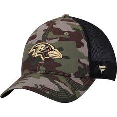 61ab0243820 Men s Baltimore Ravens NFL Pro Line by Fanatics Branded Camo Black Jungle  Trucker Hat