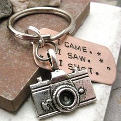 "Photographer Key Chain with camera charm, ""I Came.  I Saw.  I Shot."" $14.95, via Etsy."