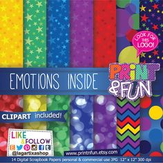 Emociones, colores, estrellas, Bokeh, Digital Paper, Patterns, Fondos, for Party Printables, Invitations, Labels, Thank you cards, blog,