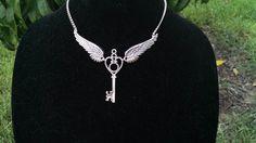 Winged Key Necklace.  Subtle Harry Potter Jewelry.