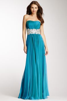 Strapless Beaded Cutout Back Gown