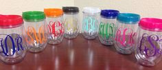 Set of 12 Personalized Monogram Stemless by CrissCrossCraft