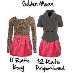 Balance and proportion when choosing clothes: the Golden Mean or Fibonacci Number. You can see just by the simple change of the top to one that is longer and has a collar, takes away the boxiness of this outfit to create a more balanced appearance.