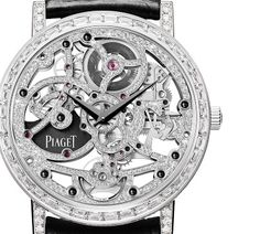 Piaget Altiplano automatic gem-set Skeleton watch: exclusive expertise  As a past master in the ancestral art of skeleton-working, Piaget has developed and created the world's thinnest skeleton models: Caliber 600S and Caliber 1200S, introduced in 2004 and 2012, respectively. But the display of virtuoso brilliance does not stop there, since the Manufacture took things to the next level in 2005 by gem... Expand this post »