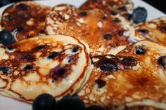Blueberry Protein Pancakes! Whole batch 260 calories and 38 grams of protein! So easy!