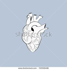 Heart on blue sky pastel color background. illustration vector with line silhouette. line art tattoo graphic design. simple for minimal tattoo. isolated vector.