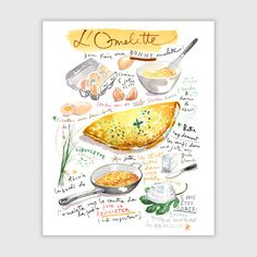 French omelette recipe print, 8X10 print, Kitchen art, Food illustration, Illustrated recipe, Watercolor print, Food painting, Kitchen decor by lucileskitchen on Etsy