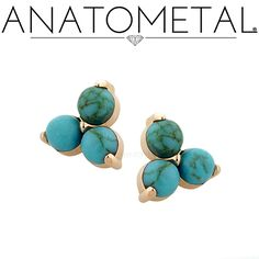 These Threaded Trio Ends in solid 18k rose gold with synthetic Turquoise…