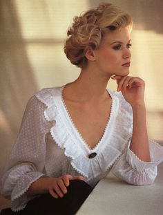 Dotted Swiss Lace blouse, by Laura Ashley, circa 1984.  Owned this blouse, always wore my hair up with it and it seemed to be like a magnet with men. :)