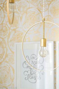 DIY: wood and brass hanging hoop pendant lights