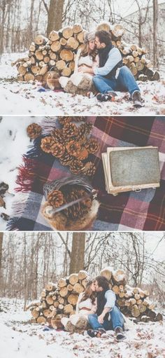 Love this idea for family photos in winter. Wood pile, plaid blanket, fur accessories, wool clothes - Maternity Photos or Family Christmas Card Photos
