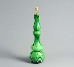 Psychedelic green ceramic gourd lamp base