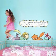 """Adesivo murale per bambini Wall Art """"Il Piccolo Principe e la volpe"""" - Misure 60x80 cm - Decorazione parete, adesivi per muro, carta da parati"""