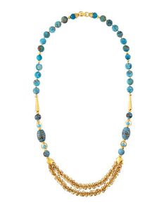 Blue Fire Agate Long Necklace by Jose & Maria Barrera at Neiman Marcus Last Call.