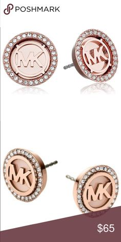 Brand New Authentic Michael Kors Earrings Rose gold-tone button earrings with each featuring pave crystal border and cutout logo Friction-back posts Imported Jewelry Earrings