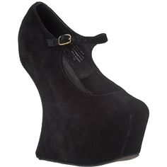 JEFFREY CAMPBELL Night Walk Wedge Black Suede ($160) ❤ liked on Polyvore featuring shoes, heels, wedges, women, platform wedge shoes, platform shoes, platform mary janes, jeffrey campbell shoes and wedge shoes