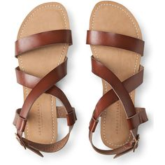 Aeropostale Strappy Sandal (300 ARS) ❤ liked on Polyvore featuring shoes, sandals, brown, brown strappy sandals, aeropostale sandals, vegan shoes, brown sandals and aeropostale shoes