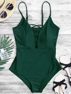 AD : Shaping Crisscross Plunge One Piece Swimsuit - GREEN A slimming one piece swimwear features crisscross straps plunge front, padded. Swimwear Type: One Piece Gender: For Women Material: Polyester,Spandex Bra Style: Padded Support Type: Wire Free Colla