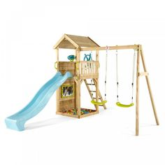 The Plum Play Wooden Lookout Tower with Swings is packed with features to inspire hours of outdoor imaginative play. The wooden tower allows children to keep watch over all their surroundings, with a ladder and heavy-duty wave slide for making a quic Swing And Slide, Double Swing, Wooden Climbing Frame, Outdoor Play Equipment, Garden Equipment, Wooden Playset, Lookout Tower, Small Backyard Patio, Kid Spaces