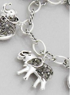 Antique Silver Elephant Charm Bracelet