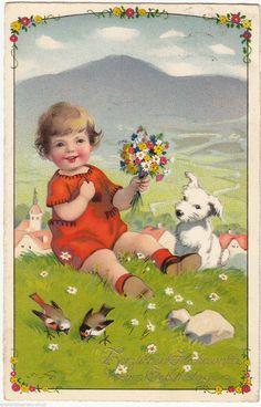Künstler AK FRITZ BAUMGARTEN 1932 Geburtstag Kind mit Hund ( 101926 | eBay