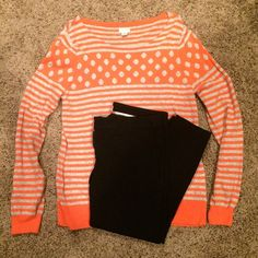 J. Crew Long Sleeve Sweater One of my favorite fall sweaters! The polka dot and stripe patterns together create a great visual! XL but I wore it as an oversized tunic sweater with leggings... Amazing! Pre loved. Smoke free, animal free home. J. Crew Sweaters Crew & Scoop Necks