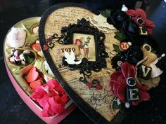 My altered Valentines Day candy box that I will be donating to an auction for cancer research at our next retreat.