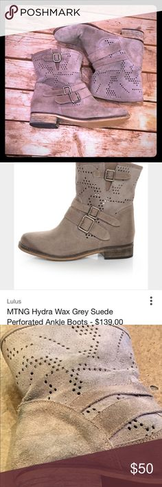MTNG Hydra Wax Grey Suede perforated Boots Kick up your heels girls! It's the freakin' weekend and I have just the thing to give your a skip in your step! Add these fabulous MTNG boots to your next night out! Be it mini-golfing or line dancing these puppies are sure to keep up and leave you with a smile on your face;) they've been around the block a time or two, the wear shows in pics. But there are many miles to go, if you have any questions let me know! Thanks!🎉💃🏻 MTNG Shoes Ankle Boots…