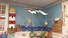 Our new classroom display for The Lighthouse Keepers Lunch with a working light…