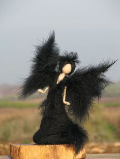 Waldorf inspired Needle felted Black angel Art by Made4uByMagic