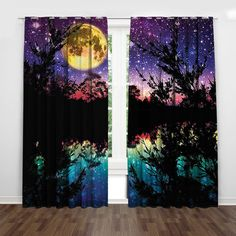 Black night moonlight shadow with the gradient rainbow color design!What a fabulous design! Art Deco Curtains, Floral Curtains, Rustic Curtains, Colorful Curtains, Night Scenery, Yellow Moon, Star Sky, Light Teal, Dark Night