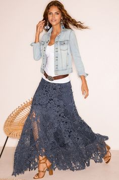 Boston Proper Lace boho maxi skirt #bostonproper