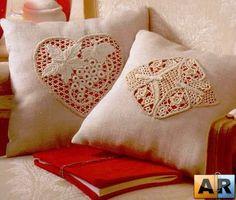 Irish Crochet inserts onto Cushion Covers