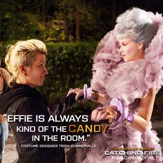"""How does Catching Fire costume designer Trish Summerville describe Effie Trinket? Find out in """"Surviving the Game: Making Catching Fire,"""" exclusively on Blu-ray! #OwnCatchingFire"""