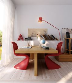 wood office table with red modern chairs