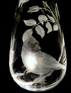 Cardinal (close up) * hand engraved Crystal by Catherine Miller of Catherine Miller Designs * Technique Stone Wheels * Polish Crystal 14 in,