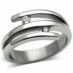 Silver Crossover Cubic Zirconia Ring Stainless Steel Contemporary Size 5 -9  #Unbranded #Cocktail