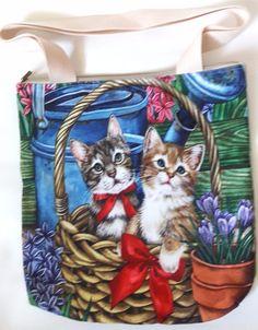 Cats basket flower garden shopping tote shoulder handbag handmade zipper purse | eBay